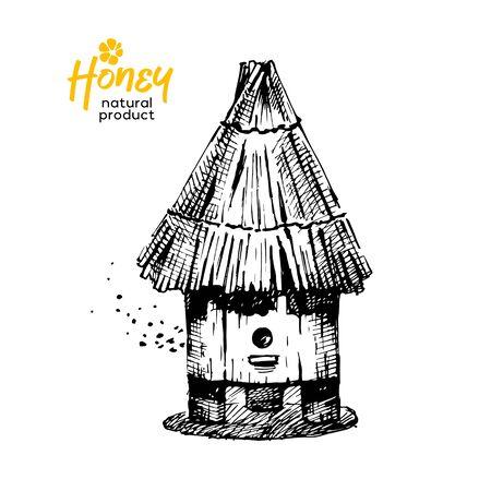 Hand drawn sketch honey background. Vintage vector illustration of hive 向量圖像