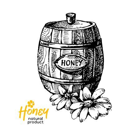 Hand drawn sketch honey background. Vintage vector illustration of natural healthy food