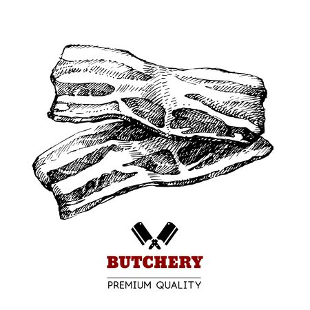 Hand drawn sketch meat product. Vector vintage illustration. Menu design