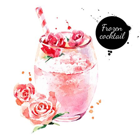 Watercolor hand drawn rose frozen cocktail illustration. Vector painted sketch isolated on white background 向量圖像