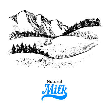 Hand drawn sketch milk products background. black and white vintage illustration of country landscape 向量圖像