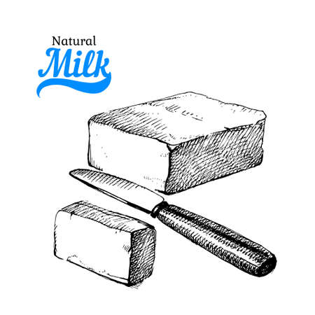 Hand drawn sketch milk products background. black and white vintage illustration 向量圖像