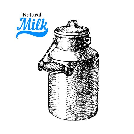 Hand drawn sketch milk products background. Vector black and white vintage illustration