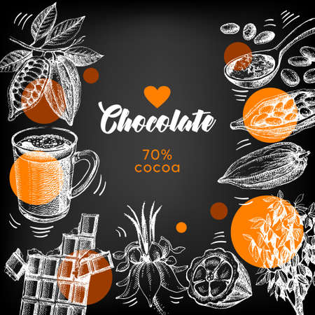 Hand drawn sketch cocoa chocolate product background. Vintage vector chalkboard illustration of natural healthy sweet food 向量圖像