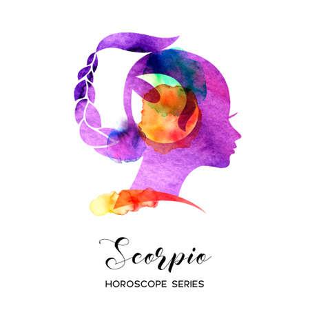 Scorpio zodiac sign. Beautiful girl silhouette. Vector illustration. Horoscope series 向量圖像