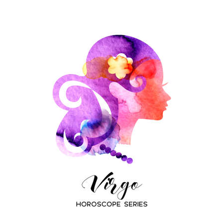 Virgo zodiac sign. Beautiful girl silhouette. Vector illustration. Horoscope series