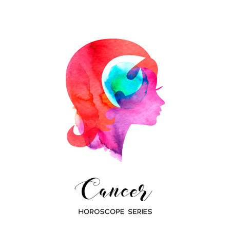 Cancer zodiac sign. Beautiful girl silhouette. Vector illustration. Horoscope series