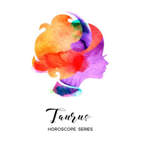 Taurus zodiac sign. Beautiful girl silhouette. Vector illustration. Horoscope series