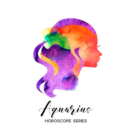 Aquarius zodiac sign. Beautiful girl silhouette. Vector illustration. Horoscope series 向量圖像