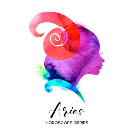 Aries zodiac sign. Beautiful girl silhouette. Vector illustration. Horoscope series 向量圖像