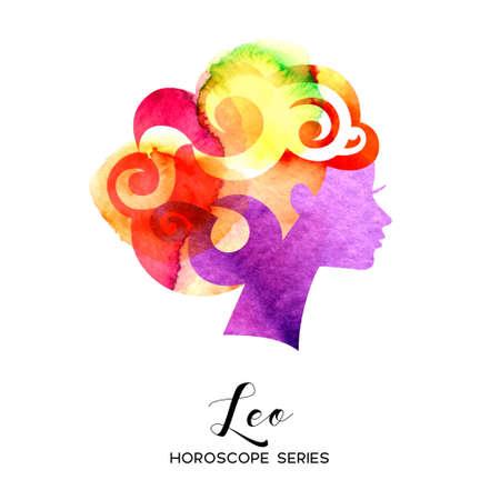Leo zodiac sign. Beautiful girl silhouette. Vector illustration. Horoscope series 向量圖像