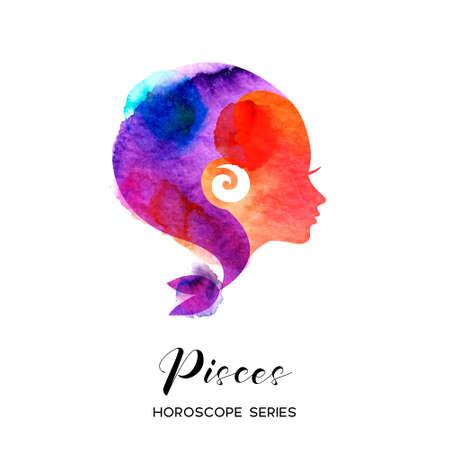 Pisces zodiac sign. Beautiful girl silhouette. Vector illustration. Horoscope series 向量圖像