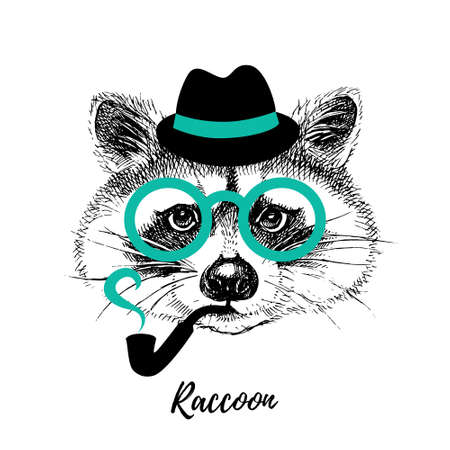 Hand drawn sketch raccoon hipster head illustration. Isolated cute trendy portrait on white background 向量圖像