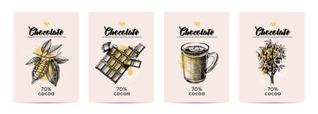 Hand drawn sketch cocoa chocolate product banners. Vintage illustration of natural healthy sweet food. Vector poster set 向量圖像