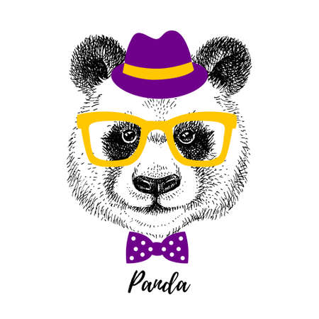 Hand drawn sketch panda hipster head illustration. Isolated cute trendy portrait on white background 向量圖像