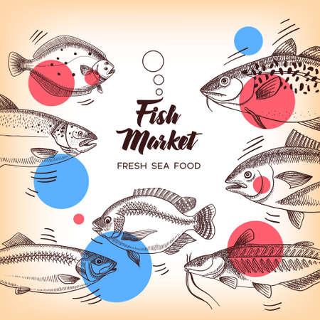 Hand drawn sketch fish animals set. Vector black and white vintage illustration