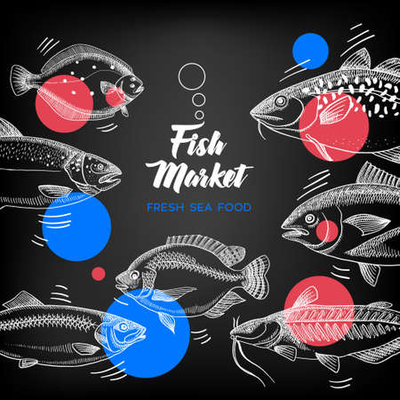 Hand drawn sketch fish animals frame. Vector black and white vintage illustration