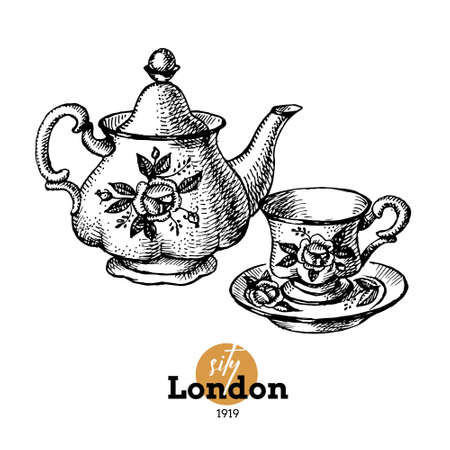 Hand drawn sketch England set. Vector black and white vector vintage London illustration. Great Britain elements