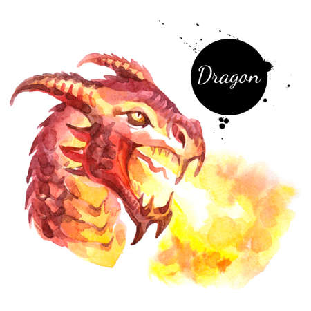 Watercolor hand drawn dragon head spitting fire illustration. Vector painted sketch isolated on white background