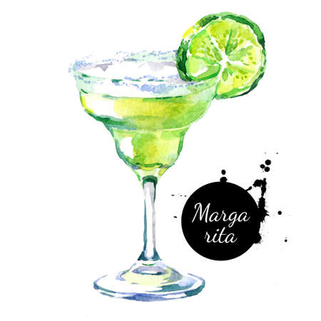 Hand drawn sketch watercolor cocktail Margarita. Isolated food illustration