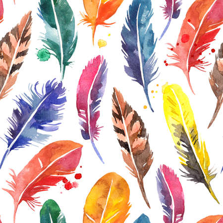 Watercolor hand drawn feathers seamless pattern. Painted isolated illustration on white background Foto de archivo