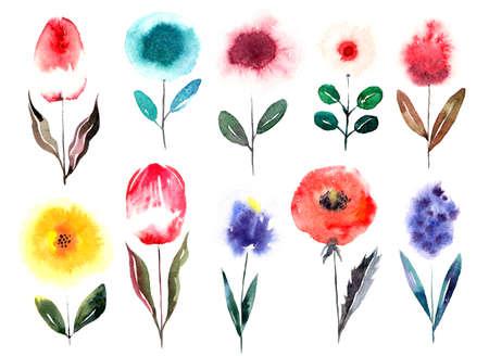 Watercolor cartoon flowers set. Illustration