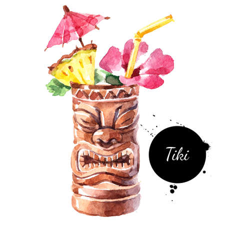 Hand drawn sketch watercolor cocktail Tiki Mug. Painting isolated food illustration