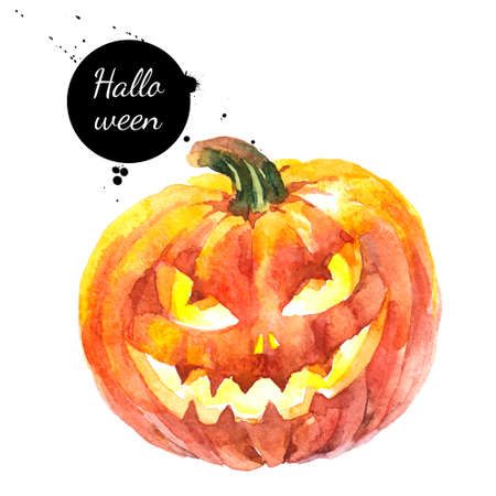 Watercolor hand drawn sketch Halloween Scary Pumpkin. Holiday isolated painted illustration on white background