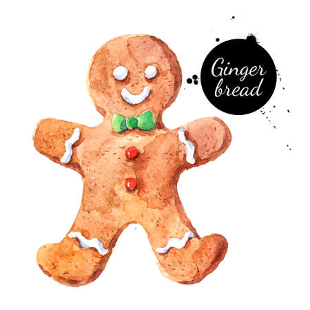 Watercolor hand drawn sketch Christmas cookie gingerbread man. Isolated illustration on white background