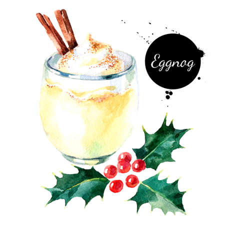 Watercolor hand drawn sketch Christmas cocktail Eggnog with cinnamon and holly berries. Isolated illustration on white background Banco de Imagens