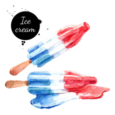 Hand drawn sketch watercolor dessert ice cream. Painting isolated food illustration Banco de Imagens