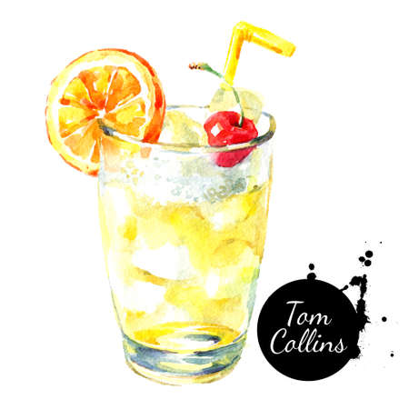 Hand drawn sketch watercolor cocktail Tom Collins. Painted isolated food illustration Banco de Imagens