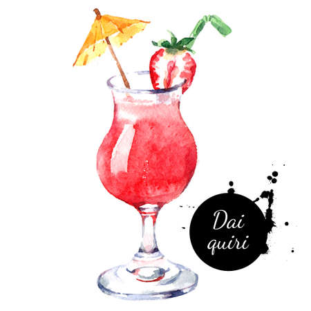 Hand drawn sketch watercolor cocktail Daiquiri. Painting isolated food illustration Banco de Imagens