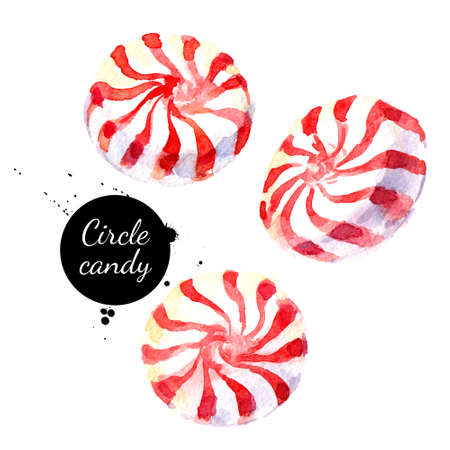 Watercolor hand drawn sketch Christmas circle peppermeint candy lollypop. Isolated painted illustration on white background