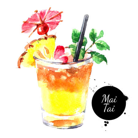Hand drawn sketch watercolor cocktail Mai Tai. Painting isolated food illustration Banco de Imagens