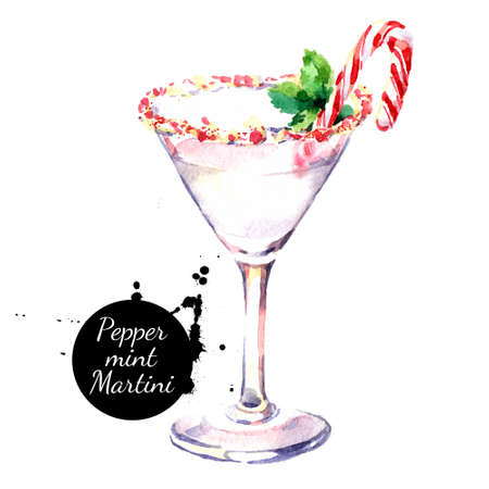 Watercolor hand drawn sketch Christmas cocktail Peppermint Martini. Isolated illustration on white background