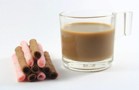 kopi: coffee, Wafer Stock Photo