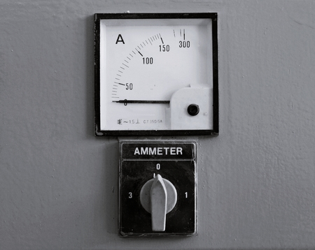 ammeter: Old gauges , Control panel with few analog ammeter Stock Photo
