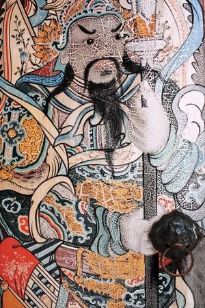 Bangkok - May 26   Chinese style painting on door of Wat Pho on May 26,2014 Bangkok Thailand