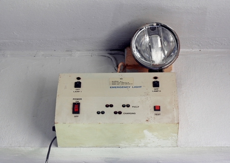 emergency light: emergency light or set of switches, toggle switches, switches, buttons
