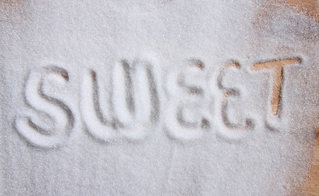 text sweet on sugar background photo