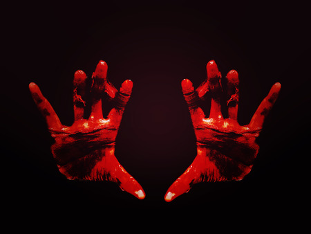 Horror Scene with Bloody Hand photo