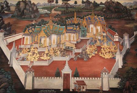 BANGKOK - THAILAND -  1 NOVEMBER 2014 : Thai Mural Painting in sanctuary  Wat Phra Kaew (the temple in grand palace) on Bangkok, Thailand