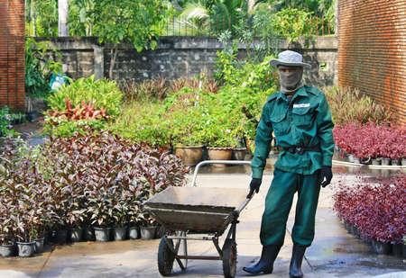 carretilla de mano: Bangkok-10 de noviembre 2014 - jardinero y un carrito en el trabajo sobre Thon Burirom Park en Bangkok, Tailandia
