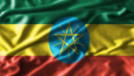 ethiopia abstract: Ethiopia  fabric waving flag Stock Photo