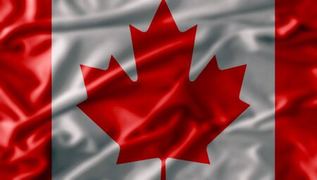flag of canada , Flag has real fabric texture photo