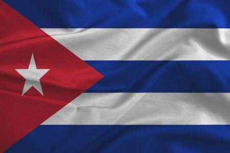 bandera cuba: Ondeando la bandera de Cuba. Bandera tiene verdadera textura de la tela