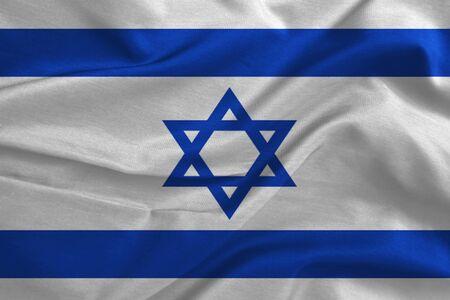 israel people: Waving colorful fabric Israeli flag
