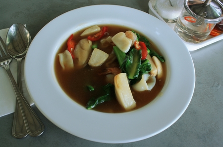 rad: Seafood and Noodles in a Creamy Sauce : Guaitiao Rad Na : delicious tradition thailand food Stock Photo