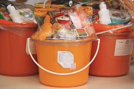 endow: Bangkok,Thailand : October 30 Consumer goods for donation to the monks on October 30, 2014 Bangkok,Thailand